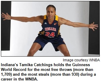 Indiana's Tamika Catchings holds the Guinness World Record for the most free throws (more than 1,709) and the most steals (more than 930) during a career in the WNBA. Image courtesy WNBA.