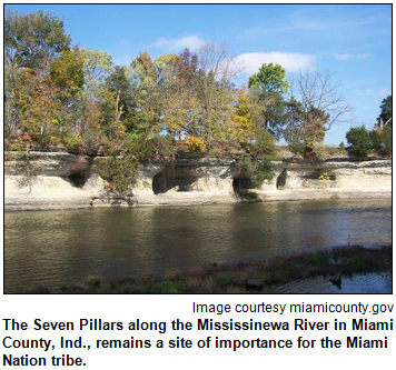 The Seven Pillars along the Mississinewa River in Miami County, Ind., remains a site of importance for the Miami Nation tribe. Image courtesy miamicounty.gov.
