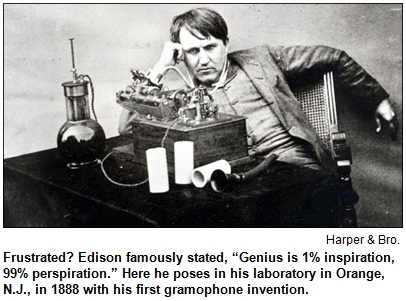 Thomas Edison with gramophone, 1888.
