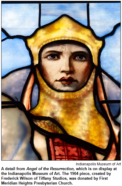 A detail from Angel of the Resurrection, which is on display at the Indianapolis Museum of Art. The 1904 piece, created by Frederick Wilson of Tiffany Studios, was donated by First Meridian Heights Presbyterian Church. Image courtesy Indianapolis Museum of Art.