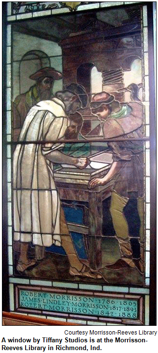 A window by Tiffany Studios is at the Morrisson-Reeves Library in Richmond, Ind. Image courtesy Morrisson-Reeves Library.