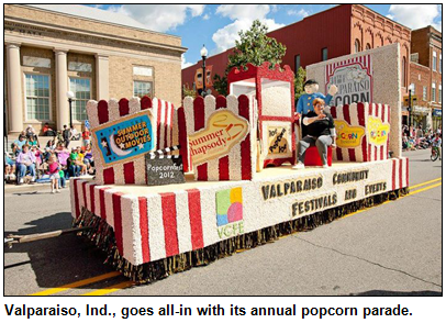 Popcorn festival float in Valparaiso popcorn parade.