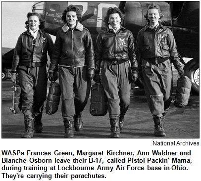 WASPs Frances Green, Margaret Kirchner, Ann Waldner and Blanche Osborn leave their B-17, called Pistol Packin' Mama, during training at Lockbourne Army Air Force base in Ohio. They're carrying their parachutes. Courtesy National Archives.