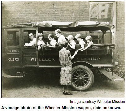 A vintage photo of the Wheeler Mission wagon, date unknown. Image courtesy Wheeler Mission.
