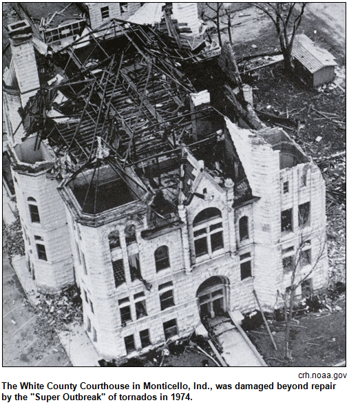 """The White County Courthouse in Monticello, Ind., was damaged beyond repair by the """"Super Outbreak"""" of tornados in 1974. Image courtesy crh.noaa.gov."""
