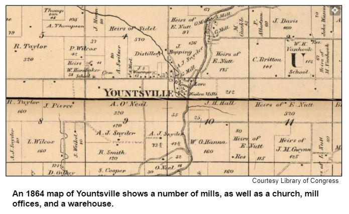 An 1864 map of Yountsville shows a number of mills, as well as a church, mill offices, and a warehouse.