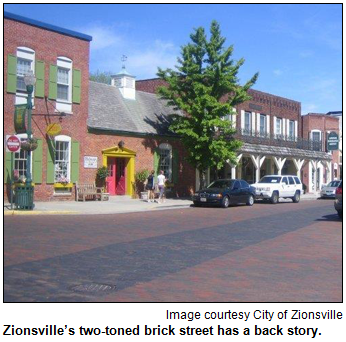 Zionsville, IN, brick street with two colors of brick. Image courtesy City of Zionsville.