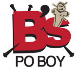 B's Po Boy restaurant logo. Located in downtown Indy's Fountain Square neighborhood, featuring po-boy sandwiches.
